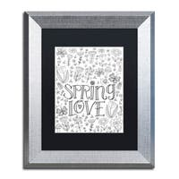 Elizabeth Caldwell 'Spring Love' Matted Framed Art - Black/White