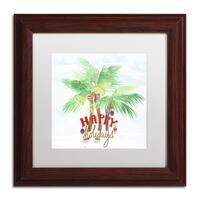 Lisa Powell Braun 'Xmas Palm Trees' Matted Framed Art