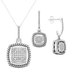 Sterling Silver Necklace and matching Earring set 1/5ct tw (I2)