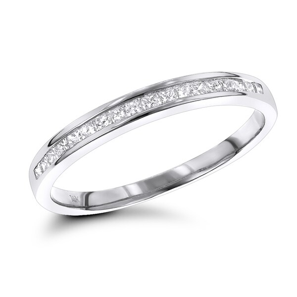 Luxurman Ultra Thin Slim Princess Cut Diamond Wedding Band 0 33ct 14k Gold H I