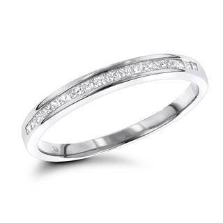 Luxurman Ultra Thin Slim Princess Cut Diamond Wedding Band 0.33ct 14K Gold (H-I; I1-I2)