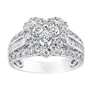 Cambridge 10k White Gold 3/4ct TDW Diamond Double Heart Engagement Ring