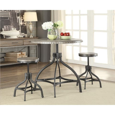 Acme Furniture Fatima Grey Oak Counter-height Table with 2 Adjustable Stools (Set of 3)
