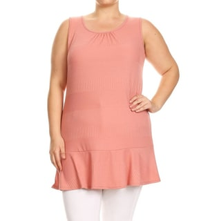 Women's Plus Size Pink Sleeveless Ruffled Hem Tunic