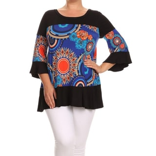 Women's Plus Size Floral Medallion Ruffled Tunic