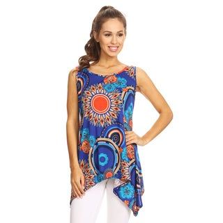 Women's Royal Blue Floral Sleeveless Tank Top