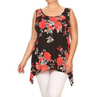 Women's Plus Size Sleeveless Floral Tunic