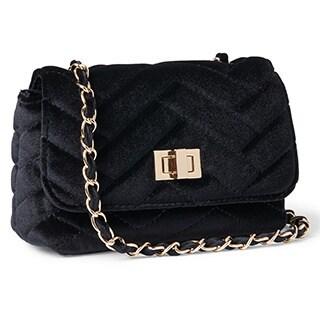 Steve Madden Chant Quilted Velvet Chain Strap Crossbody Handbag