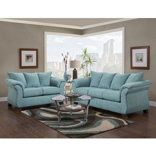 sofa trendz christian 2 pc sofa loveseat set - Blue Living Room Set
