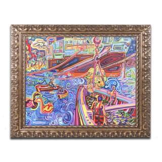 Josh Byer 'Banana Crane' Ornate Framed Art