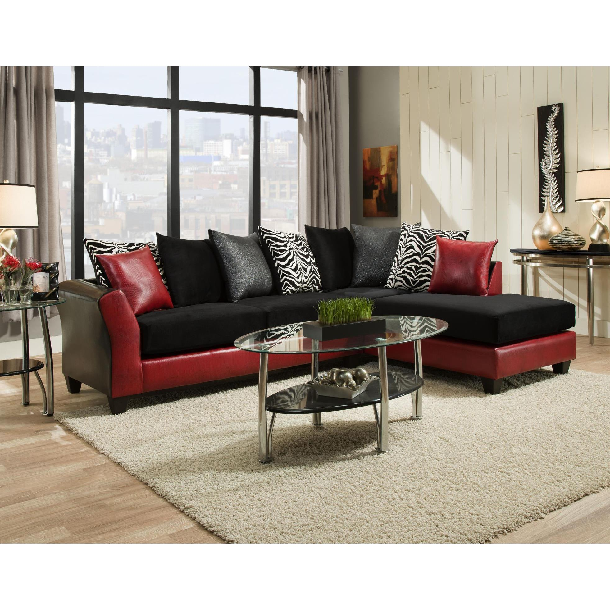 SOFA TRENDZ Daisy Black & Red Sectional