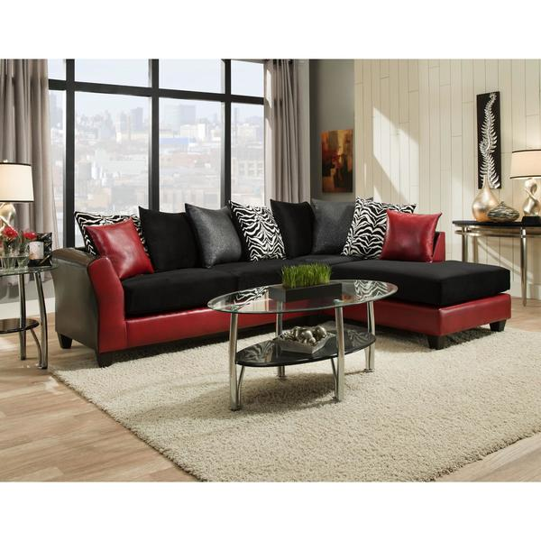 Shop Sofa Trendz Daisy Black Red Sectional Free Shipping Today