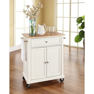Crosley Furniture White Wood Portable Kitchen Cart and Island