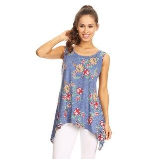 Women's Light Blue Sleeveless Floral Tank Top