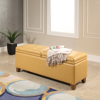 Abbyson Matlock Yellow Quilted Storage Ottoman