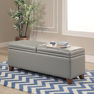 Abbyson Matlock Grey Bonded Leather Quilted Storage Ottoman