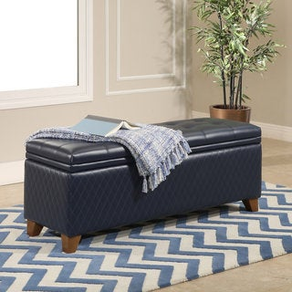 Abbyson Matlock Navy Bonded Leather/Birch Wood/Foam Quilted Storage Ottoman