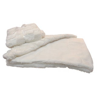 Roberto Amee White Mink Faux Fur Throw