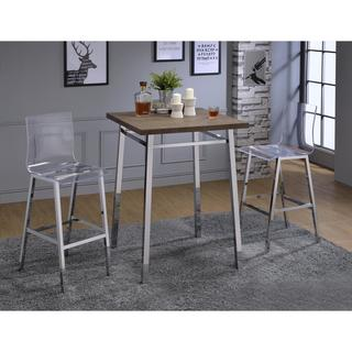 Acme Furniture Nadie Clear Acrylic/Chrome Bar Chairs (Set Of 2)