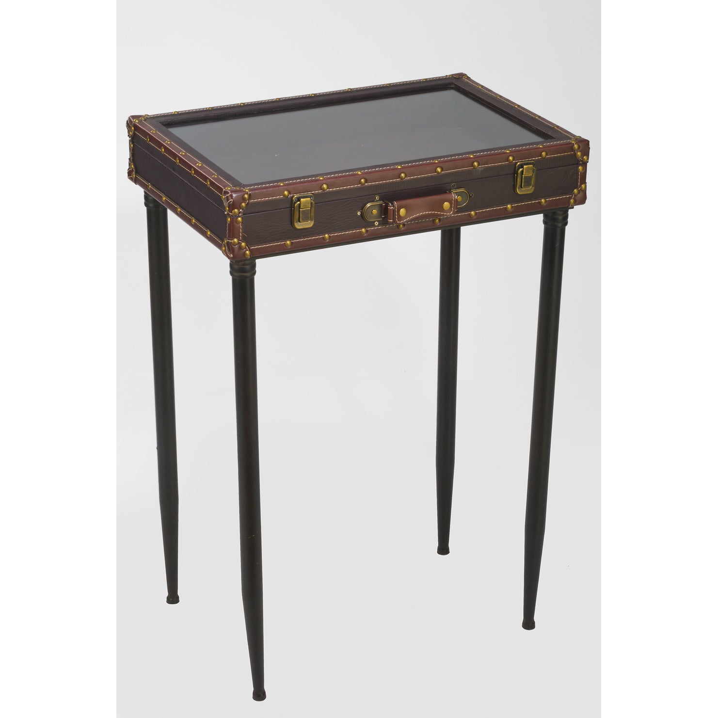 International Glass Top Suitcase Display Table (brown), B...