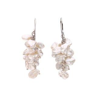 Sterling Silver White Freshwater Cultured Keshi Pearl Drop Earrings