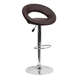 Offex Contemporary Vinyl Rounded Back Adjustable Height Bar Stool with Chrome Base