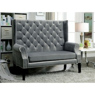 Furniture of America Olis Contemporary Fabric Tufted Loveseat Bench