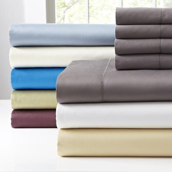 Pointehaven 410 Thread Count 6 pc Long Staple Cotton Deep Pocket Sheet Set with Bonus PC Pair