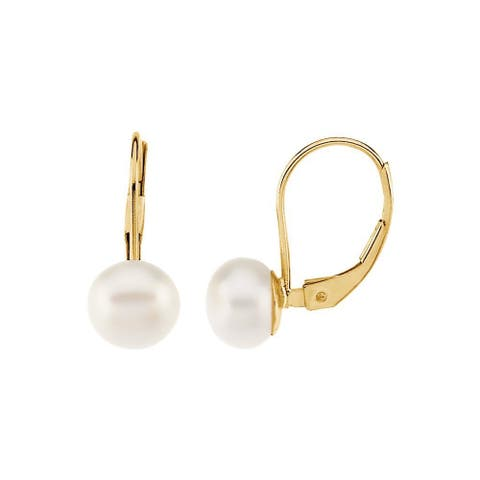 Curata 14k Yellow Gold and White Freshwater Cultured Pearl Leverback Earrings