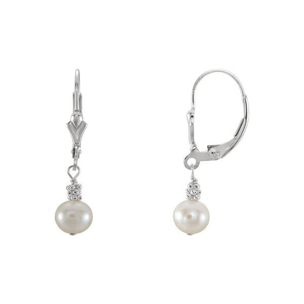 6 to 7mm Crown Jewelry White Cultured Freshwater Pearl Post Earrings