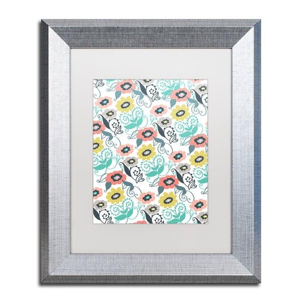 Elizabeth Caldwell 'Suzani Floral' Matted Framed Art