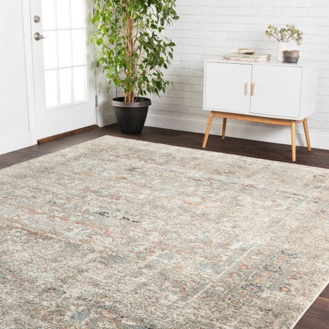 Alexander Home Genova Granite Border Distressed Rug
