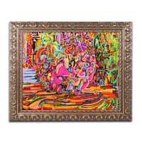 Josh Byer 'Nude Woman As A Bowl Of Fruit' Ornate Framed Art