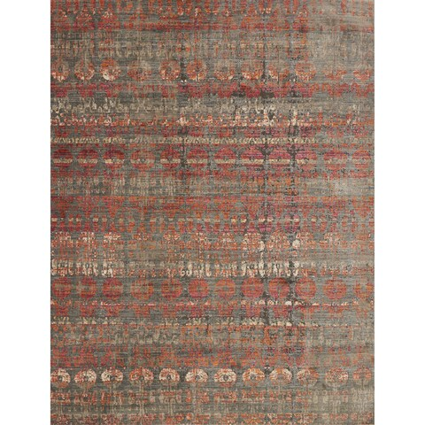 Genova Grey/ Orange Rug - 2'6 x 4'