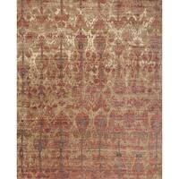 Transitional Bohemian Pink/ Beige Ikat Rug - 6'7 x 9'4