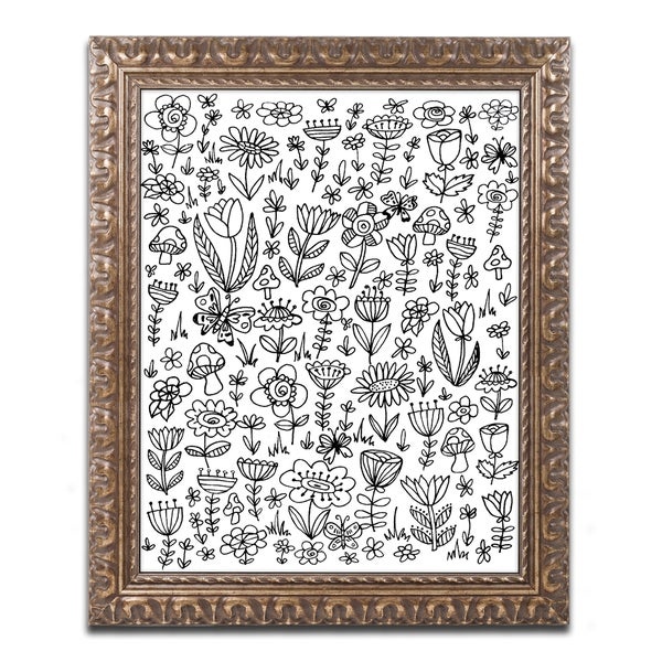 Elizabeth Caldwell \'Small Flowers\' Ornate Framed Art - Free Shipping ...