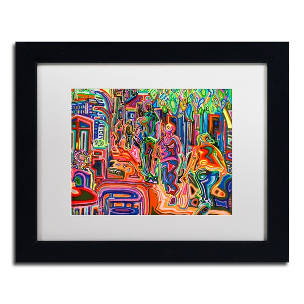 Josh Byer 'Folk' Matted Framed Art - Black