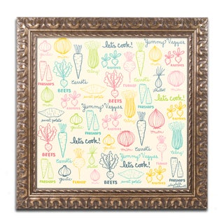 Elizabeth Caldwell 'Yummy Veggies' Ornate Framed Art