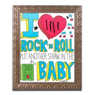 Elizabeth Caldwell 'I love Rock n Roll' Ornate Framed Art
