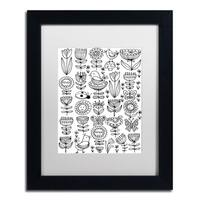 Elizabeth Caldwell 'Birds And Flowers' Matted Framed Art - Black/White