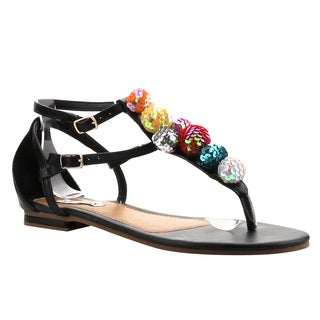 CAPE ROBBIN AG26 Women's T Strap Thong Glitter Ball Beach Sandals