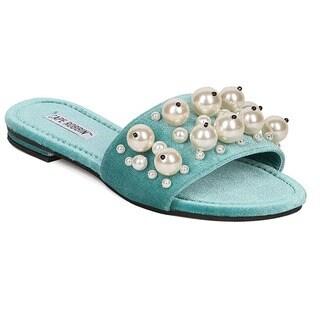 CAPE ROBBIN AG25 Women's Slip On Pearls Flat Slide Dress Sandals