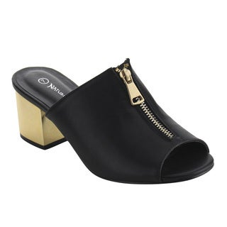 Nature Breeze FJ19 Women's Peep Toe Slip On Block Metallic Heel Dress Sandals