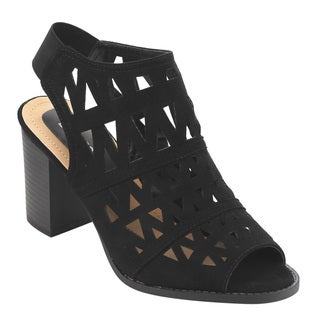 Beston EG22 Women's Cut Out Elastic Strap Slingback Caged Stack Dress Heels