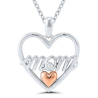 Sterling Silver and Rose Gold Diamond Accent Mom Heart Pendant