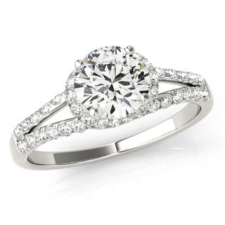 Transcendent Brilliance Intertwined Halo Split Shank Diamond Engagement Ring 18k Gold 1 1/10 TDW