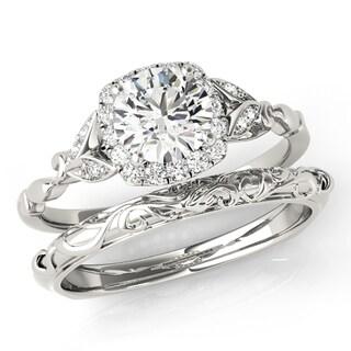 Transcendent Brilliance Antique Inspired Halo Diamond Bridal Wedding Set 18k Gold 1 1/10 TDW
