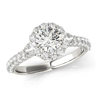 Transcendent Brilliance MultiRow Shank Three Stone Halo Diamond Engagement Ring 18k Gold 2 1/10 TDW