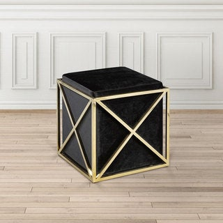 Modern Square Gold and Black Upholstered Foot Stool Ottoman