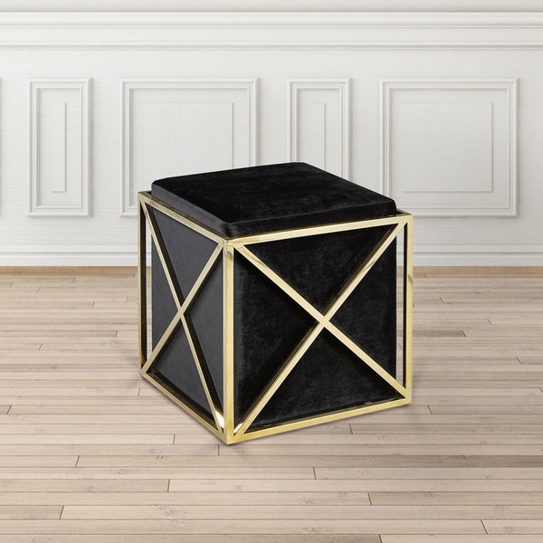Shop Modern Square Gold And Black Upholstered Foot Stool